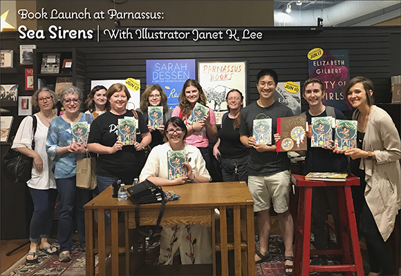 Midsouth SCBWI members with illustrator Janet K. Lee at the book launch at Parnassus for Sea Sirens