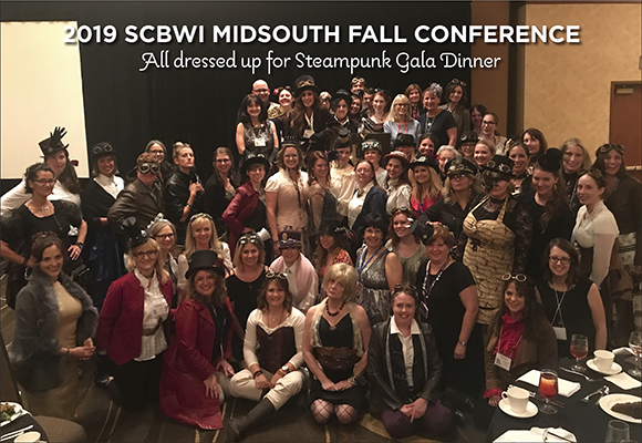 Attendees all dressed up in their finest Steampunk attire at the 2019 SCBWI Midsouth Fall Conference Gala Dinner